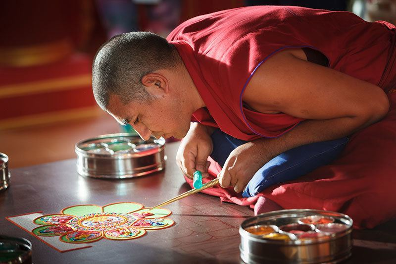 Creation of Tibetan Sand Mandala