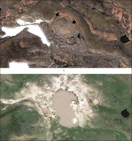 Siberian Craters Before After