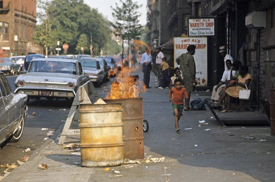 A Burning Trash Can In Harlem