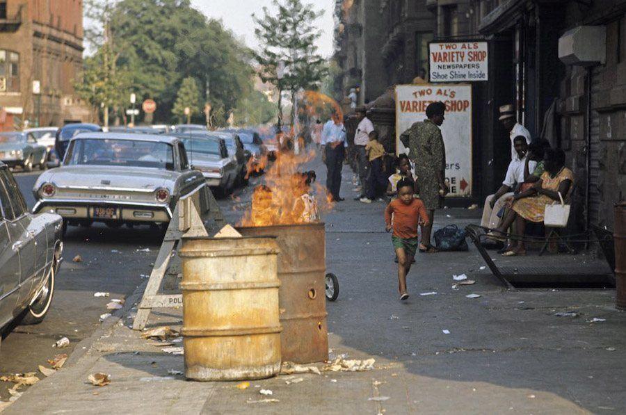 A Burning Trash Can In Harlem