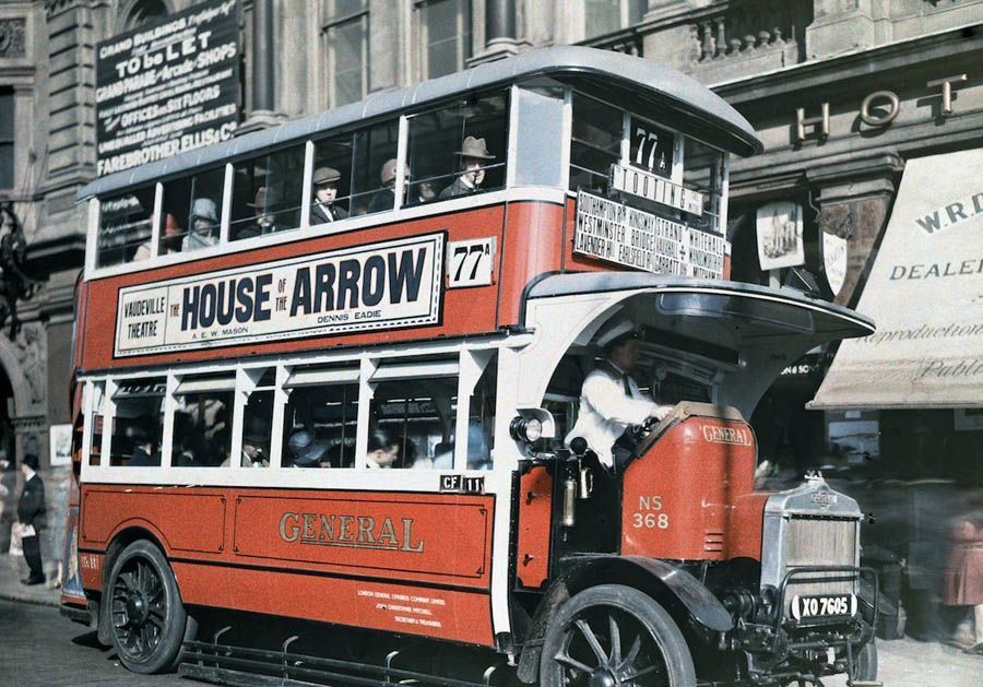 england in color double decker