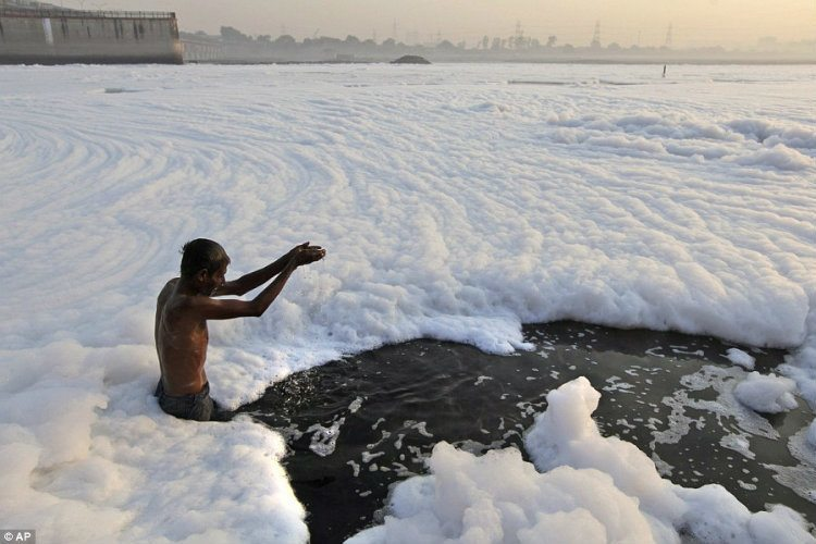 Foaming In The Yamuna River