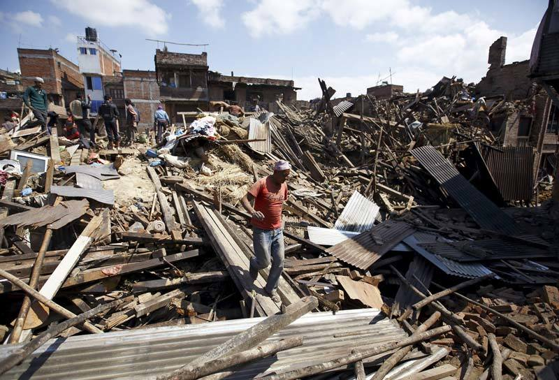 Destroyed homes in Nepal