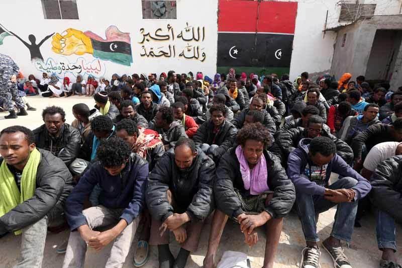 Detained migrants in Libya