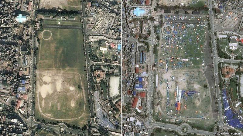Before and after earthquake ball field in Kathmandu