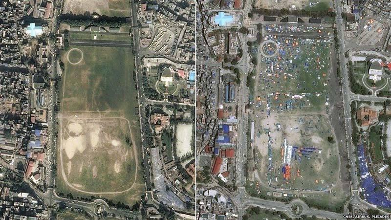 Before and after earthquake ball field in Kathmandu