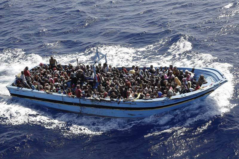 Boat used to ferry migrants from North Africa