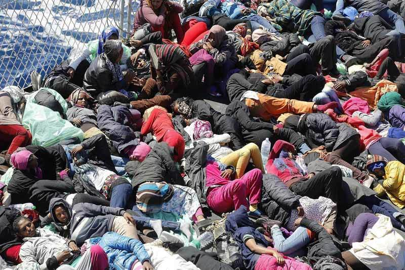 Hundreds of migrants piled on rescue boat in Mediterranean