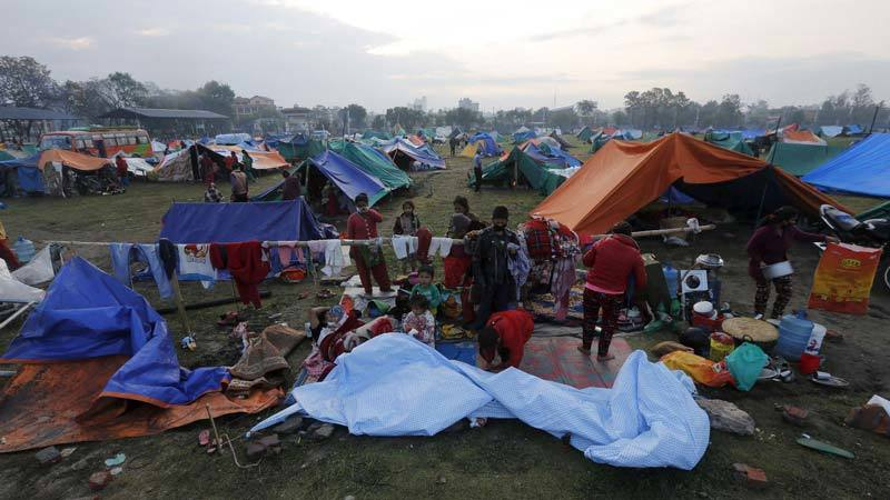 Evacuee's camp on golf course in Nepal