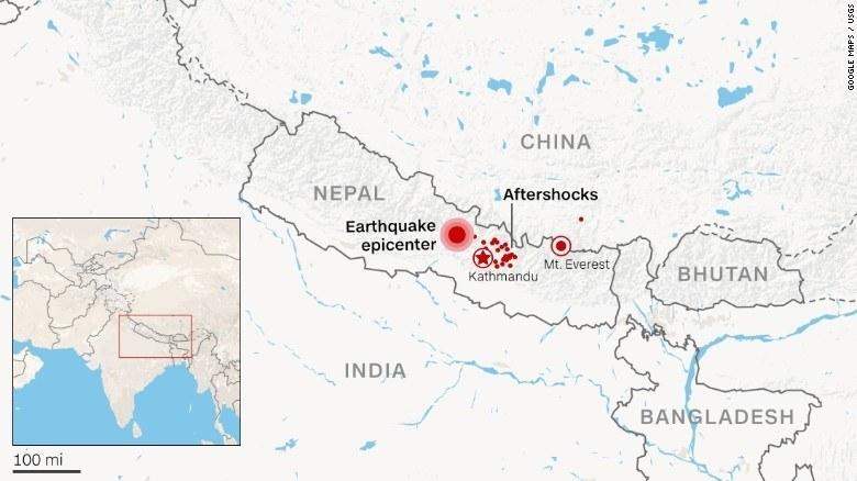 Map showing Nepal earthquake devastation
