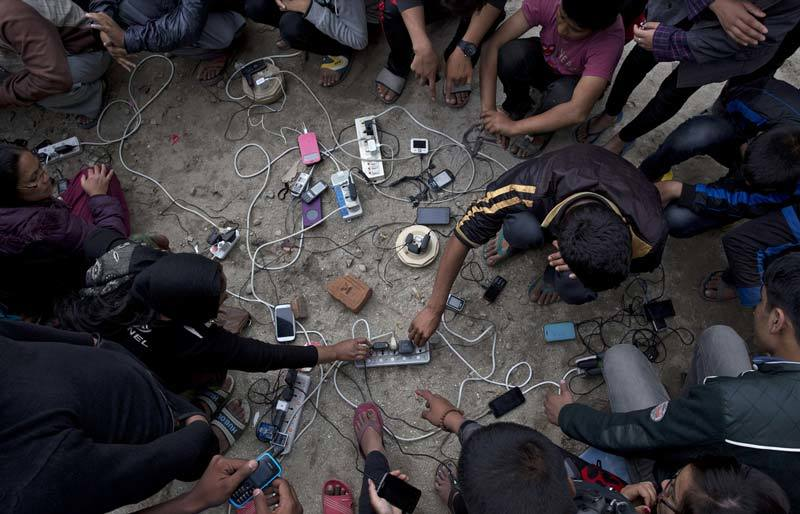 Phone charging station in Nepal during earthquake
