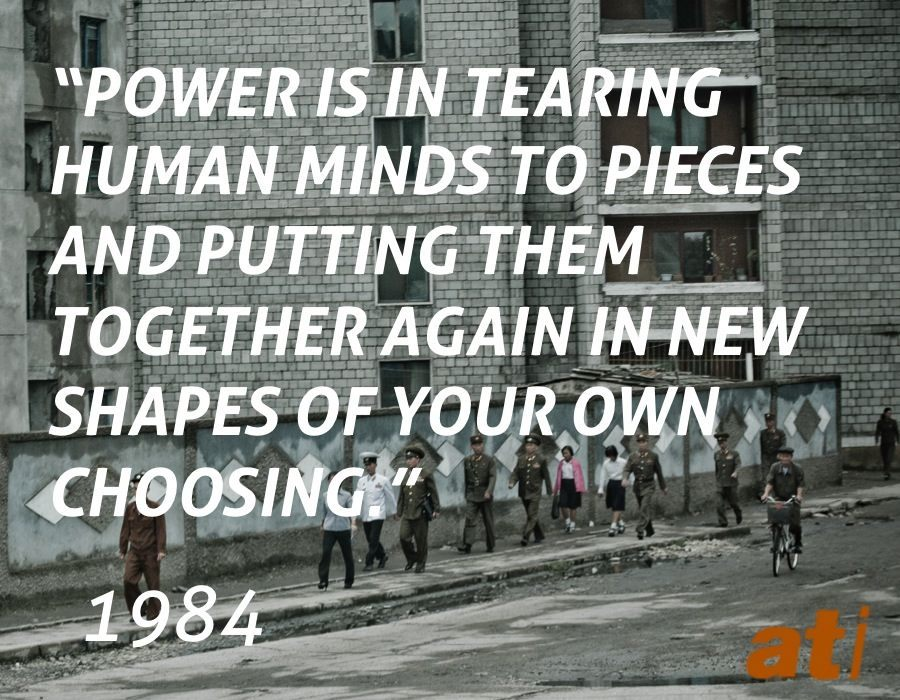 How does 1984 represent power?What danger does George Orwell' s novel 1984 warn us against?