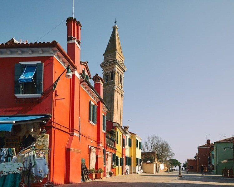 painted island church tower burano italy