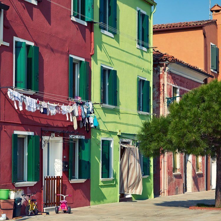 painted island hanging laundry burano italy