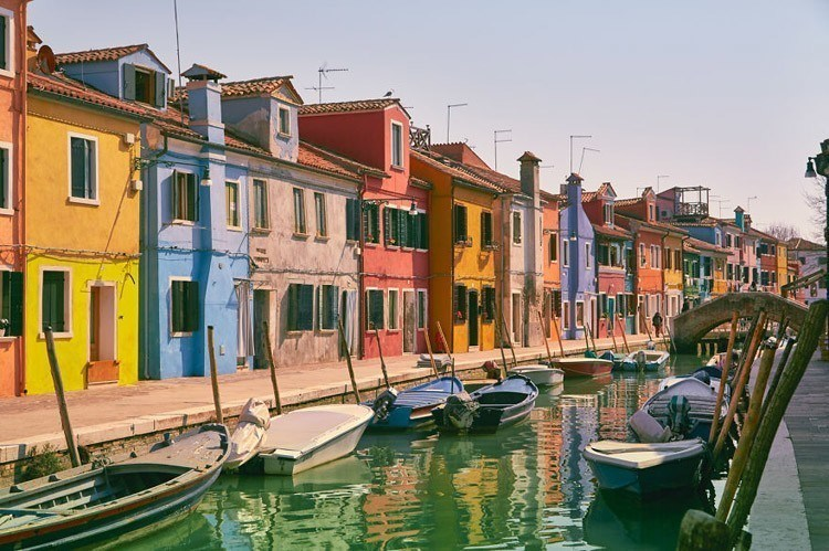 painted island riverway burano italy
