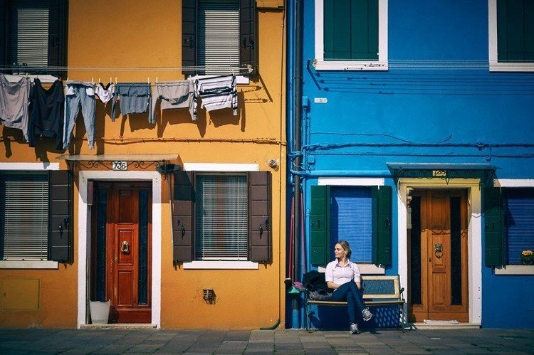 painted island sitting bench burano italy