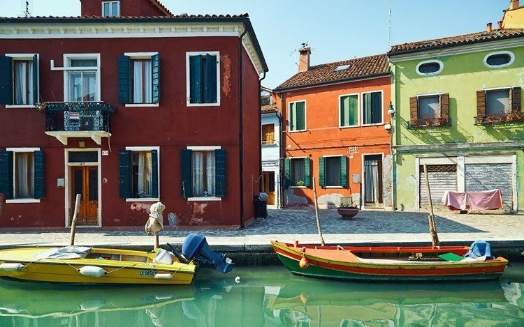 painted island two boats burano italy