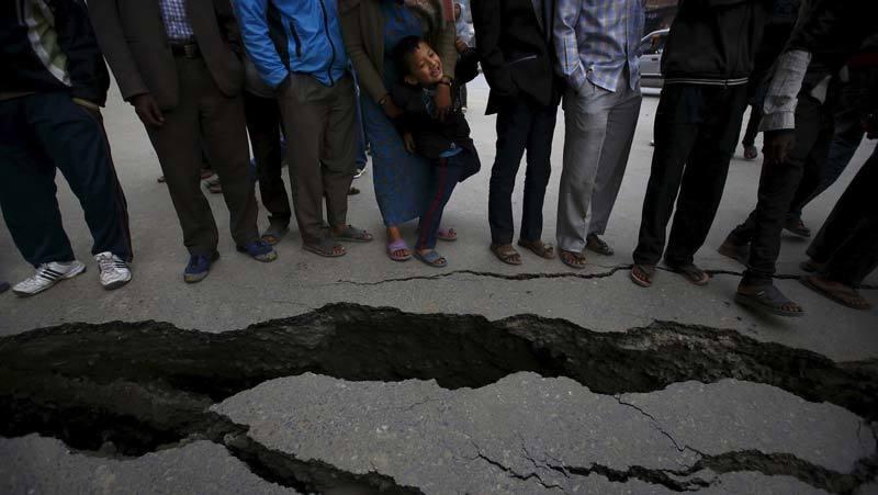 Road split by Nepal earthquake