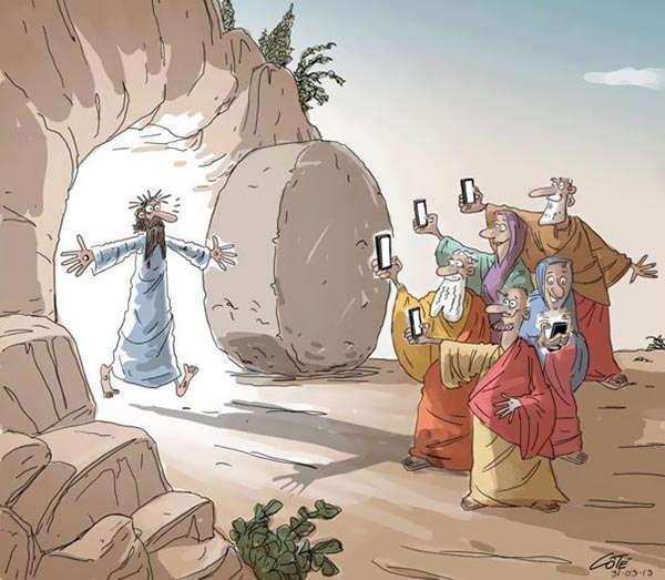Smartphones Cartoons Jesus