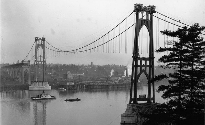 Constructing Portland's St. John's Bridge