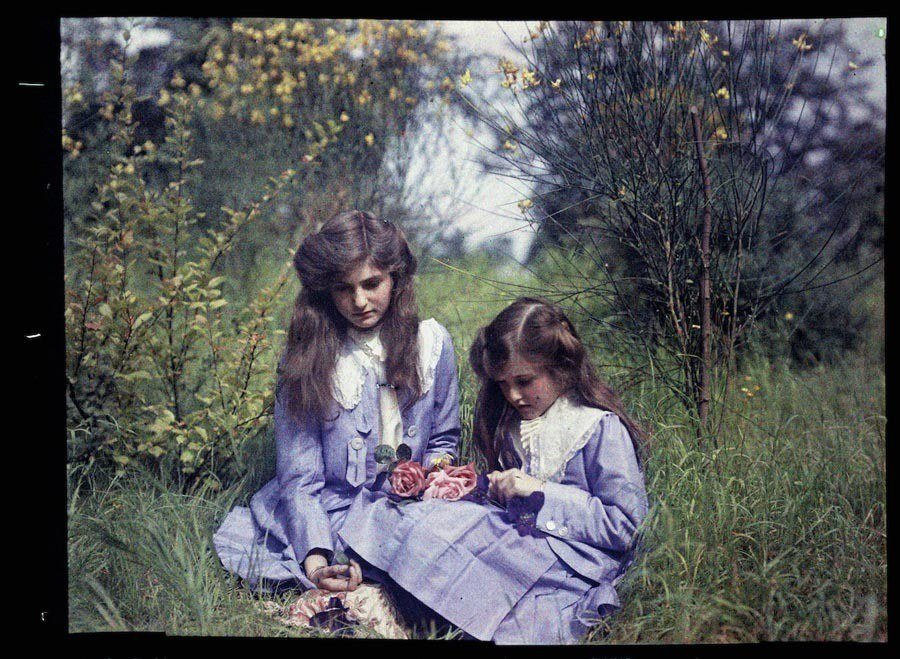 etheldreda laing autochrome blue dresses