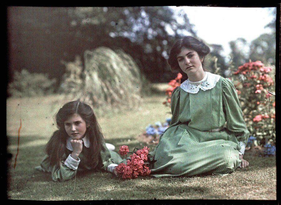 etheldreda laing autochrome green dresses