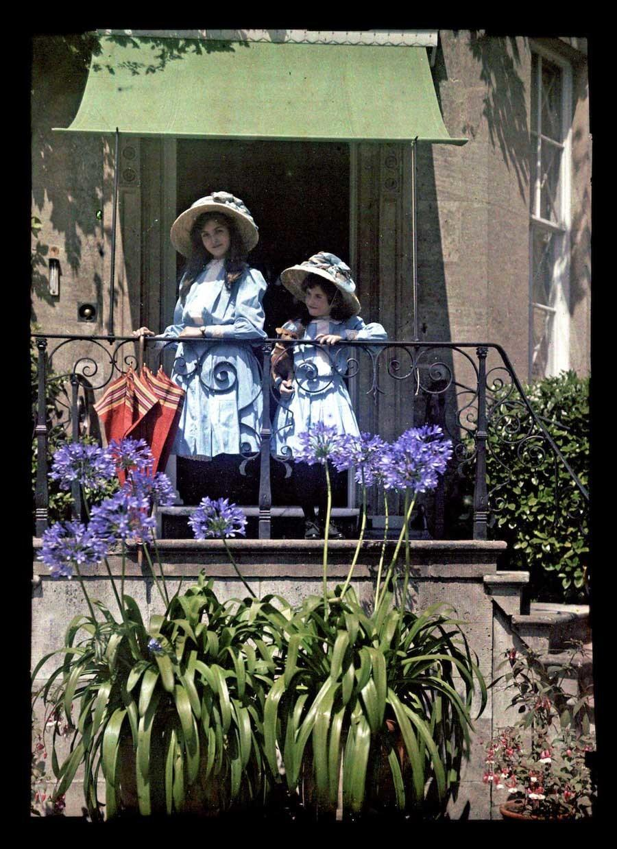 Etheldreda Laing autochrome red umbrella