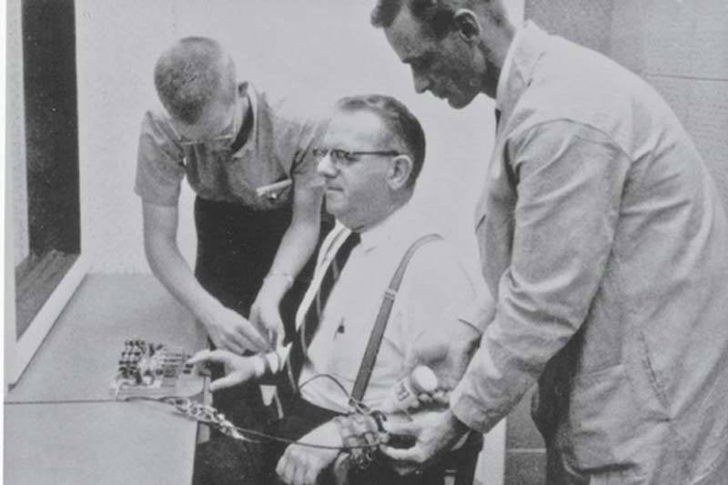 Milgram experiment actor is strapped into shock device