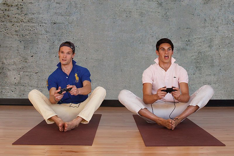 College Bros Doing Yoga