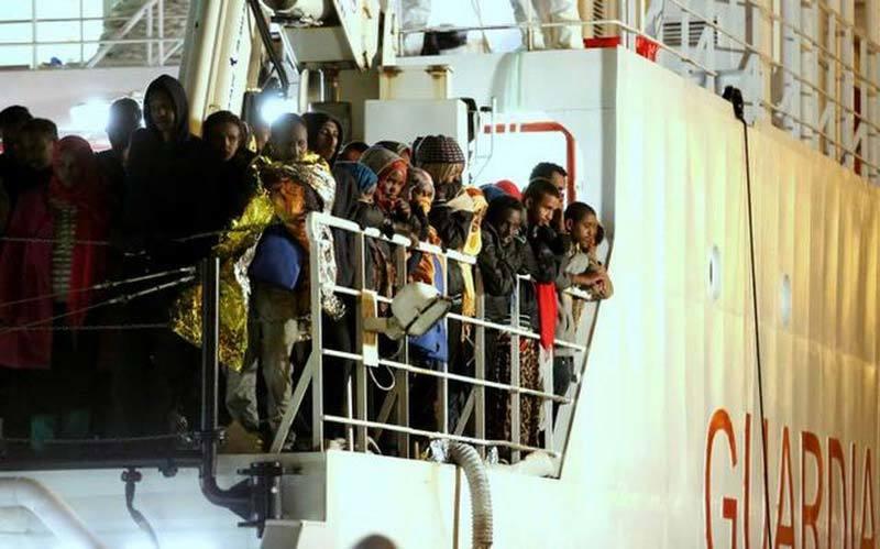 Migrants on Italian Coast Guard Ship in Mediterranean