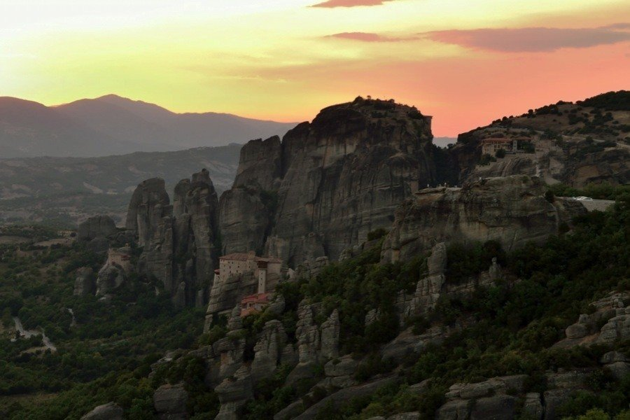 Sunset In Meteora Greece