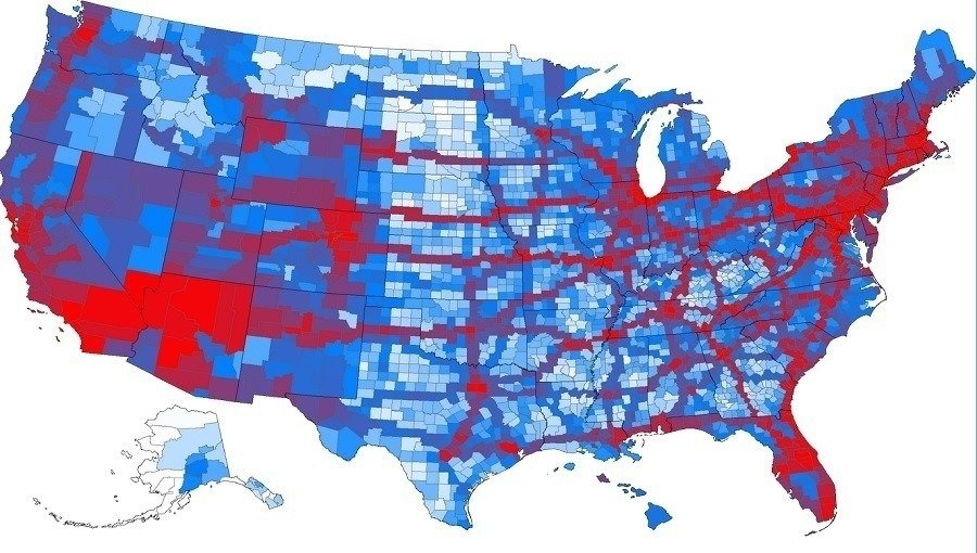 The United States Most Visited Counties In One Map - Counties visited map