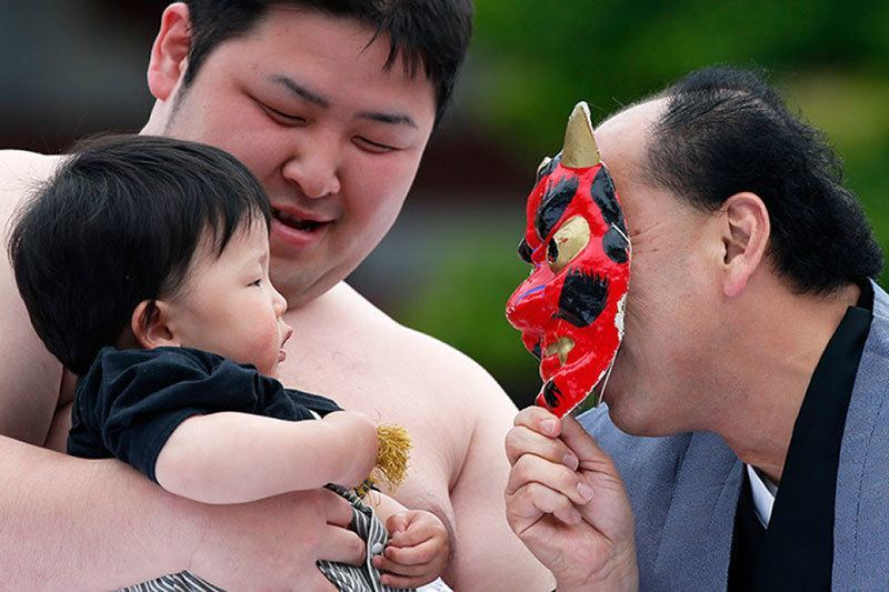Japanese Sumo Crying Contest