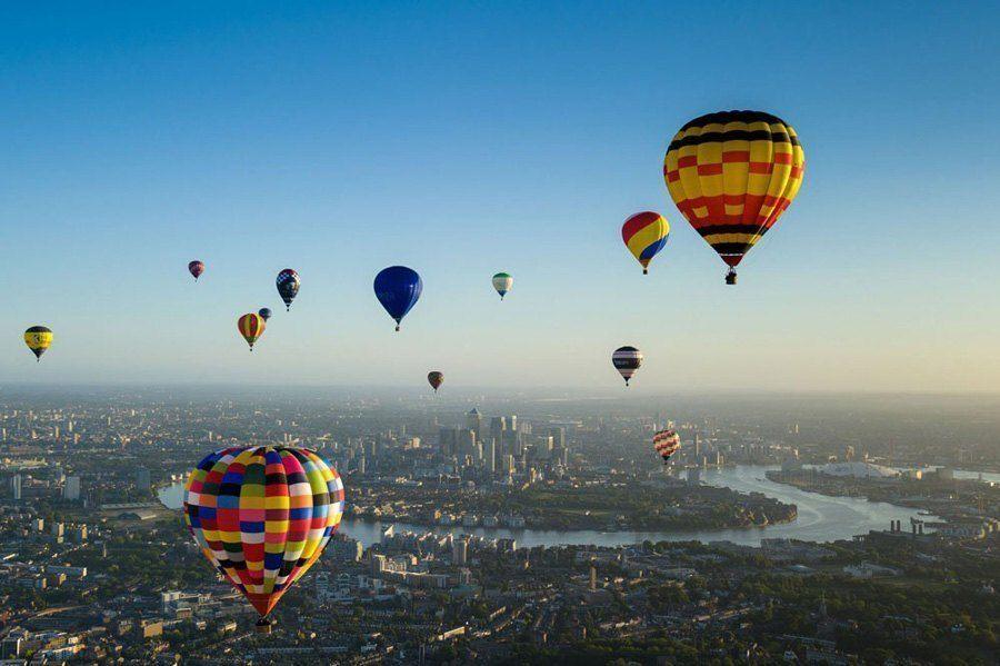 london air balloons rainbow river