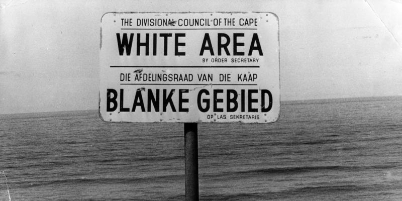 A sign demarcating racialized spaces in South Africa.
