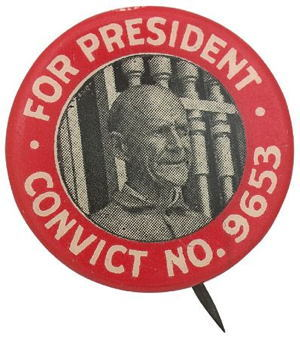 A pin from Eugene Debs' 1920 presidential campaign. Debs was arrested on June 30, 1918 for an anti-war speech he gave in Canton, Ohio, two weeks prior. Even though he ran for president from the confines of his prison cell, Debs received one million votes. You can read the speech here.
