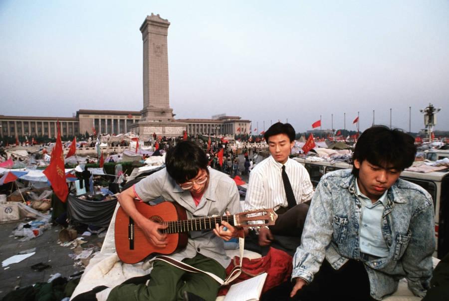 Demonstrators Playing Music