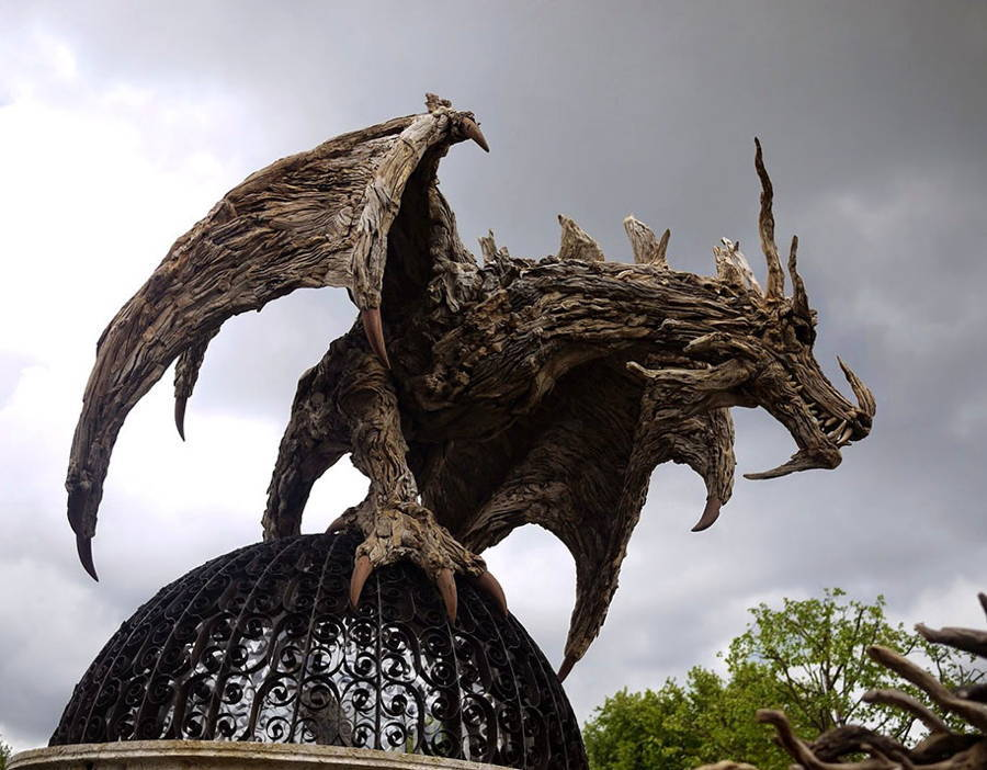 Driftwood Dragon Sculpture Perched