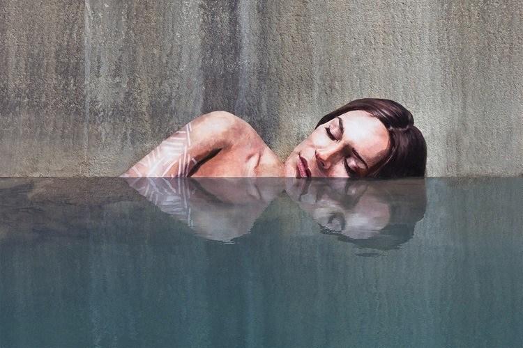 mysterious waterfront women sleepy swimming