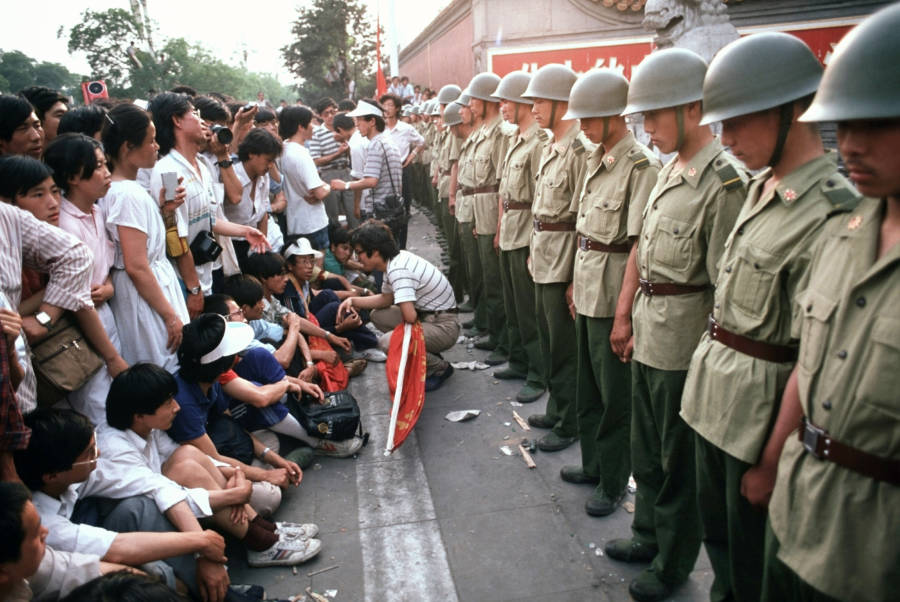 Protesters Facing Soldiers
