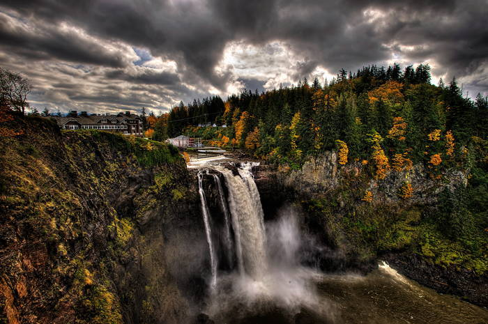 Snoqualmie Falls Waterfall Cloudy
