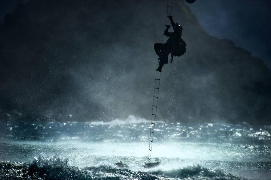 Soldier Ladder Helicopter Ocean