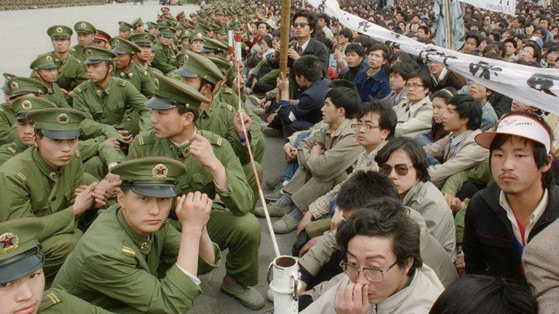 Chineses Protesters And Troops