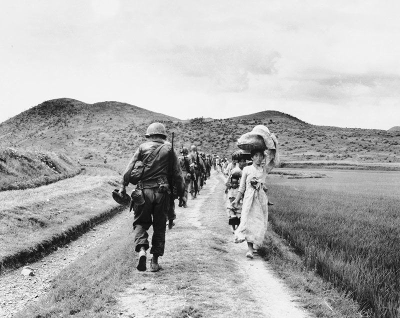 Vintage Korean War Marching Forward