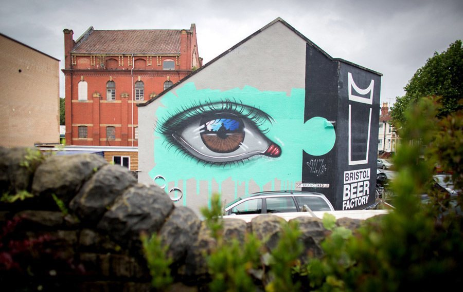 Banksy graffiti festival eye