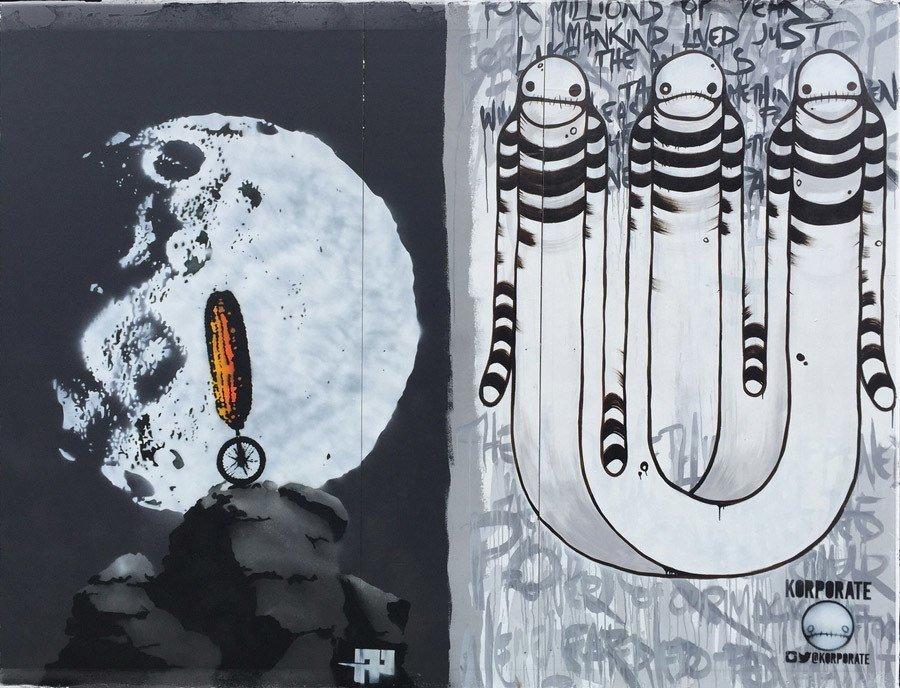 Banksy graffiti festival korporate