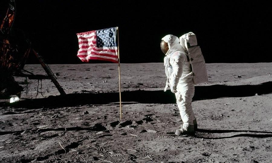 Astronaut Moon American Flag