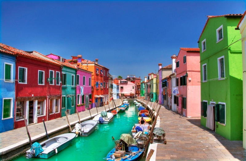 Burano Boats Canal Colors
