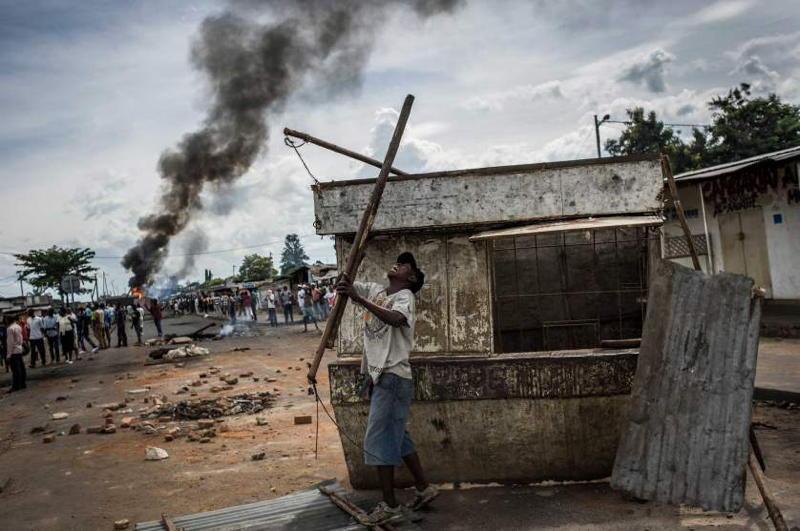 Burundi Violence Rubble Smoke