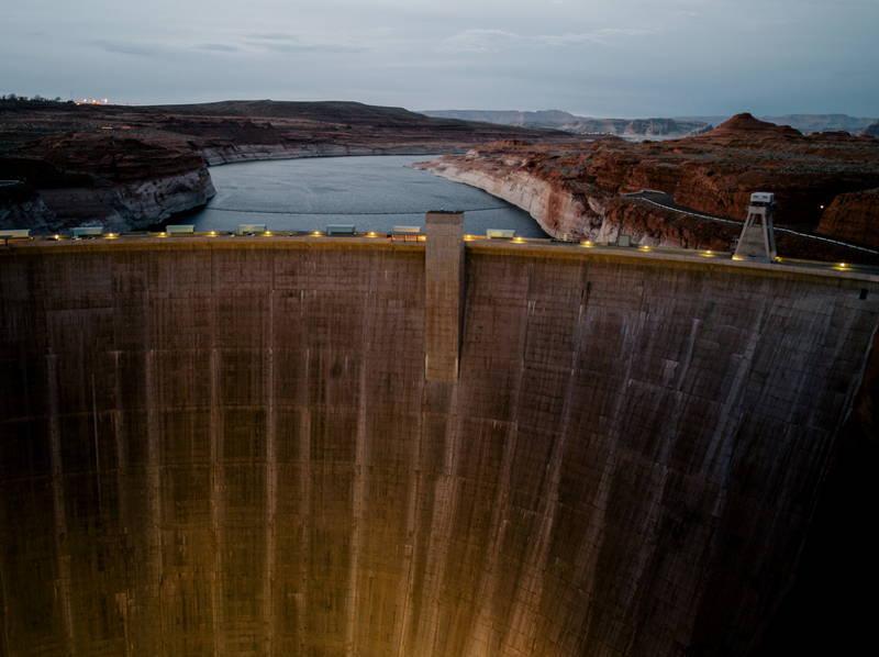 Dam Low Water Dusk
